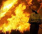 Un brigadista luchando contra el fuego en la Comunidad Valenciana