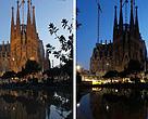 Antes y después del apagón en la Sagrada Familia por la Hora del Planeta